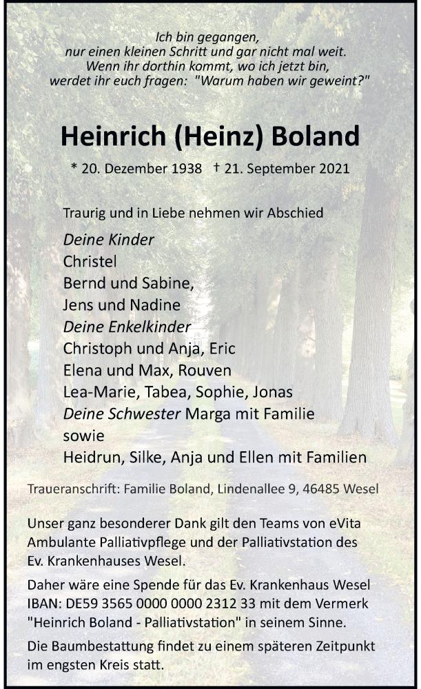 Traueranzeige für Heinrich  Boland vom 25.09.2021 aus Rheinische Post