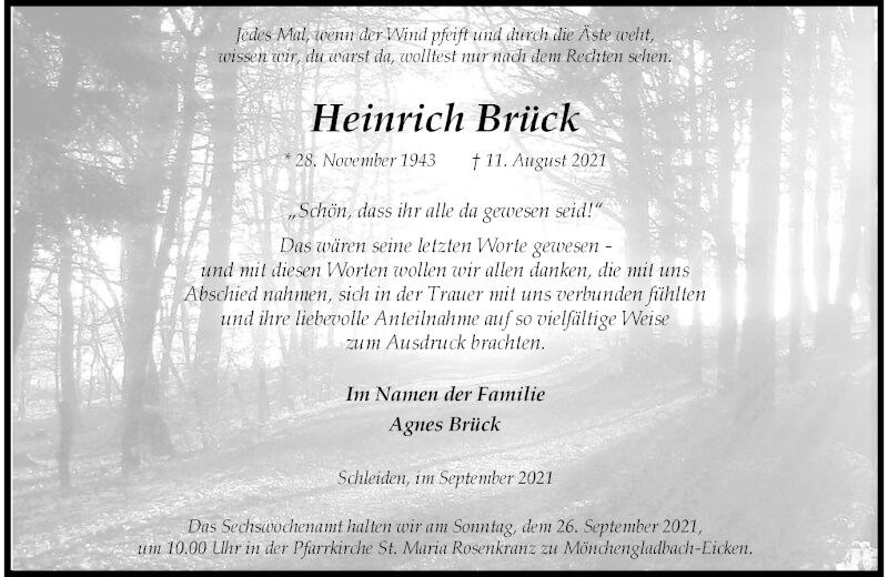 Traueranzeige für Heinrich Brück vom 18.09.2021 aus Rheinische Post