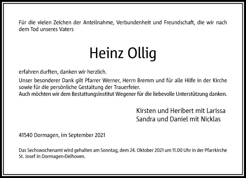 Traueranzeige für Heinz Ollig vom 25.09.2021 aus Rheinische Post