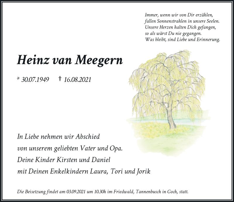 Traueranzeige für Heinz van Meegern vom 01.09.2021 aus Rheinische Post