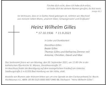 Traueranzeige von Heinz Wilhelm Gilles von Rheinische Post