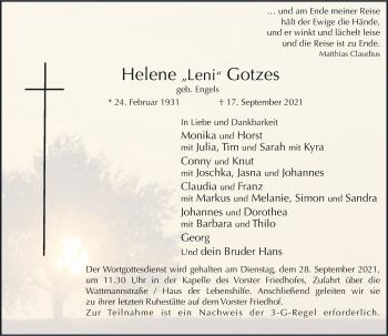 Traueranzeige von Helene Gotzes von Rheinische Post