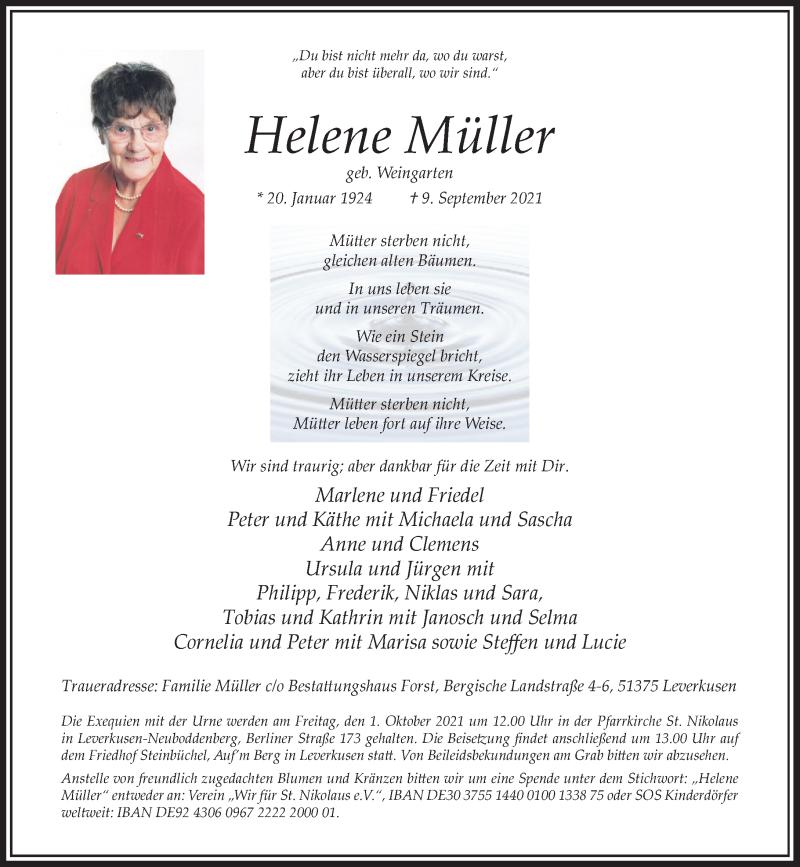 Traueranzeige für Helene Müller vom 25.09.2021 aus Rheinische Post