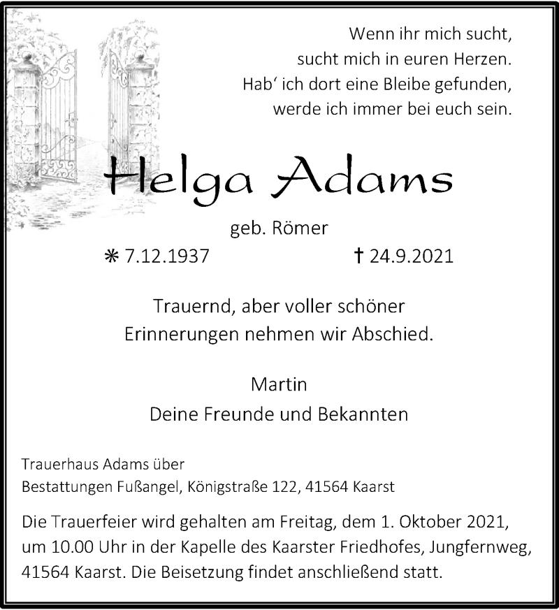 Traueranzeige für Helga Adams vom 29.09.2021 aus Rheinische Post