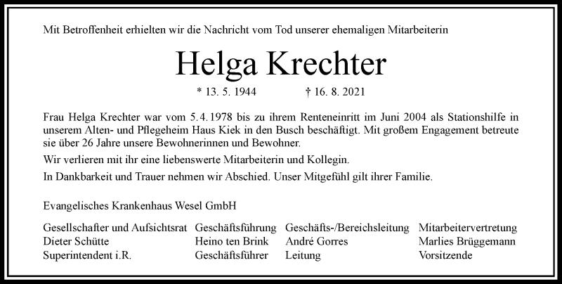 Traueranzeige für Helga Krechter vom 11.09.2021 aus Rheinische Post