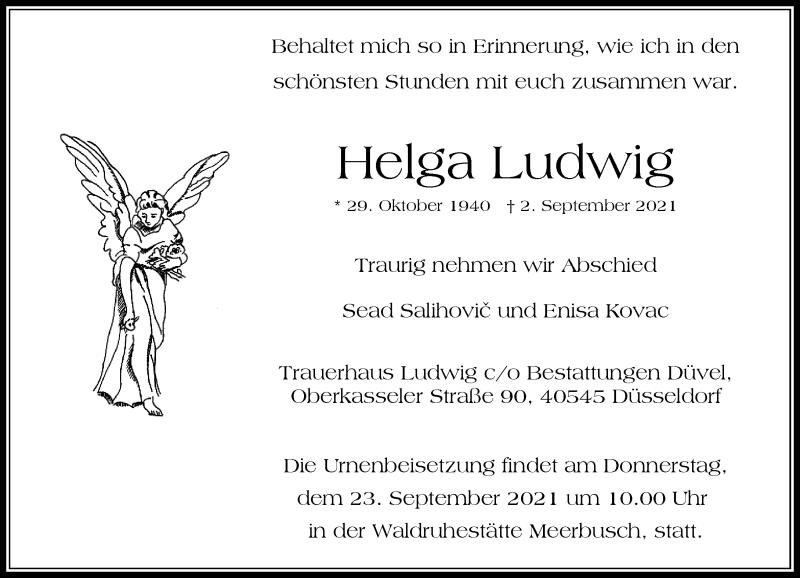 Traueranzeige für Helga Ludwig vom 11.09.2021 aus Rheinische Post
