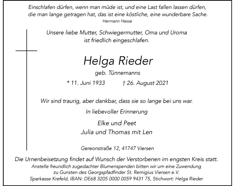 Traueranzeige für Helga Rieder vom 04.09.2021 aus Rheinische Post