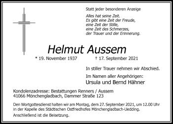 Traueranzeige von Helmut Aussem von Rheinische Post