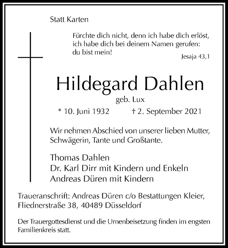 Traueranzeige für Hildegard Dahlen vom 11.09.2021 aus Rheinische Post