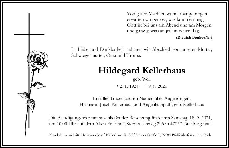 Traueranzeige für Hildegard Kellerhaus vom 14.09.2021 aus Rheinische Post