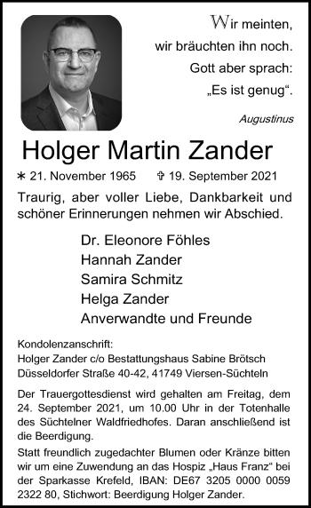 Traueranzeige von Holger Martin Zander von Rheinische Post