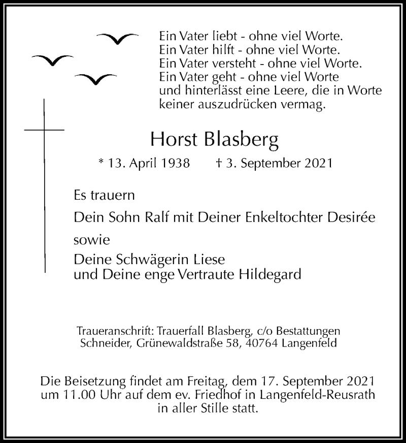 Traueranzeige für Horst Blasberg vom 11.09.2021 aus Rheinische Post