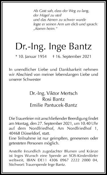 Traueranzeige von Inge Bantz von Rheinische Post
