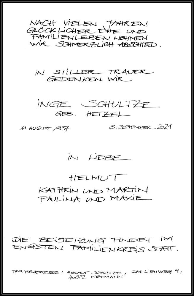 Traueranzeige für Inge Schultze vom 15.09.2021 aus Rheinische Post