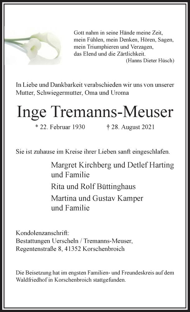 Traueranzeige für Inge Tremanns-Meuser vom 25.09.2021 aus Rheinische Post