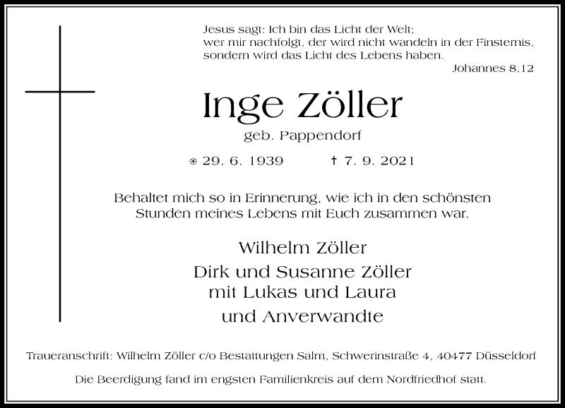 Traueranzeige für Inge Zöller vom 18.09.2021 aus Rheinische Post