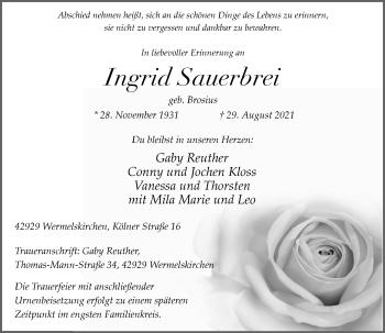 Traueranzeige von Ingrid Sauerbrei von Rheinische Post