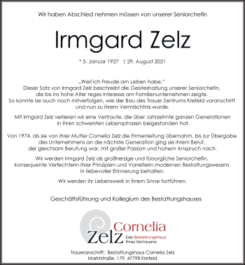 Traueranzeige von Irmgard Zelz von Rheinische Post