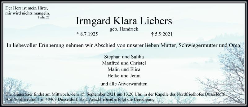 Traueranzeige für Irmgard Klara Liebers vom 11.09.2021 aus Rheinische Post