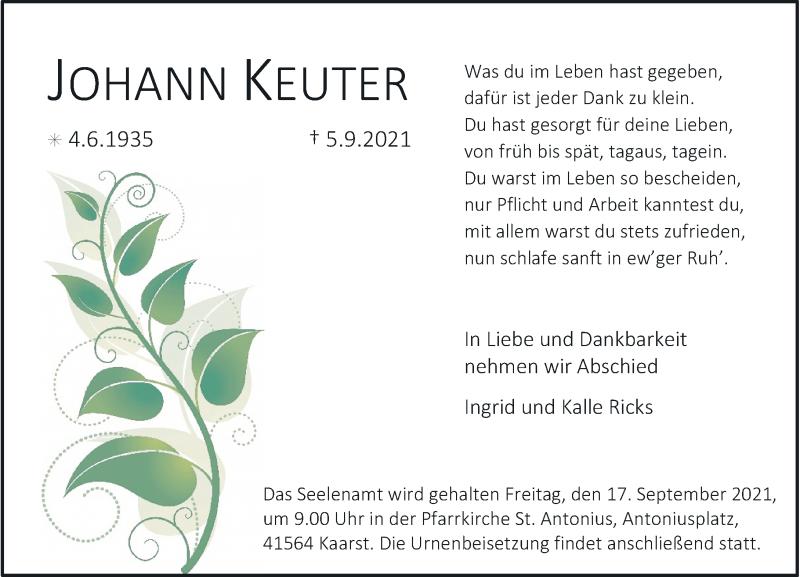 Traueranzeige für Johann Keuter vom 11.09.2021 aus Rheinische Post