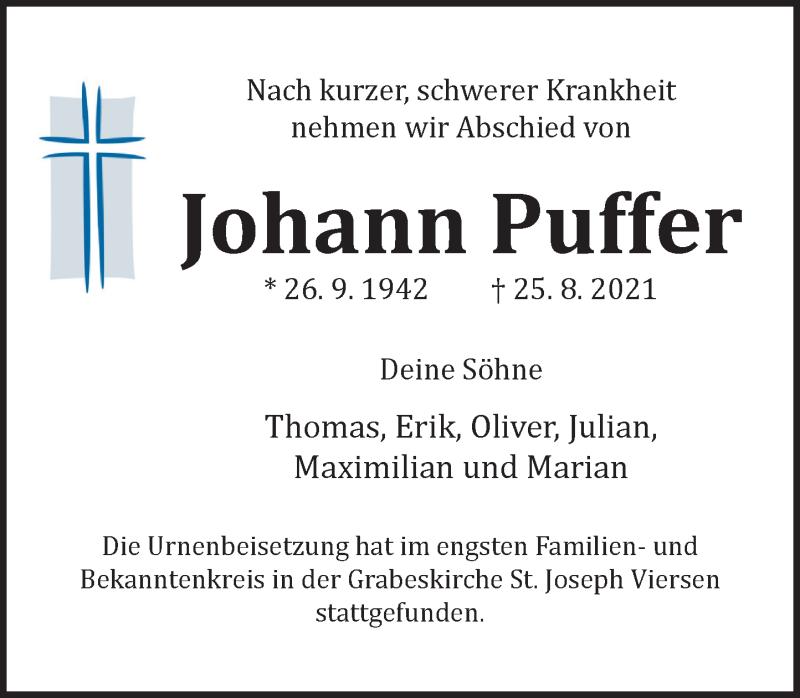 Traueranzeige für Johann Puffer vom 11.09.2021 aus Rheinische Post