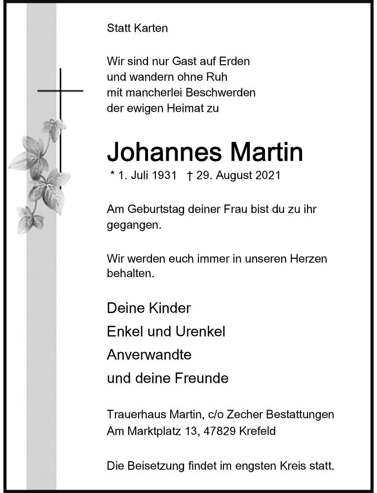 Traueranzeige für Johannes Martin vom 04.09.2021 aus Rheinische Post