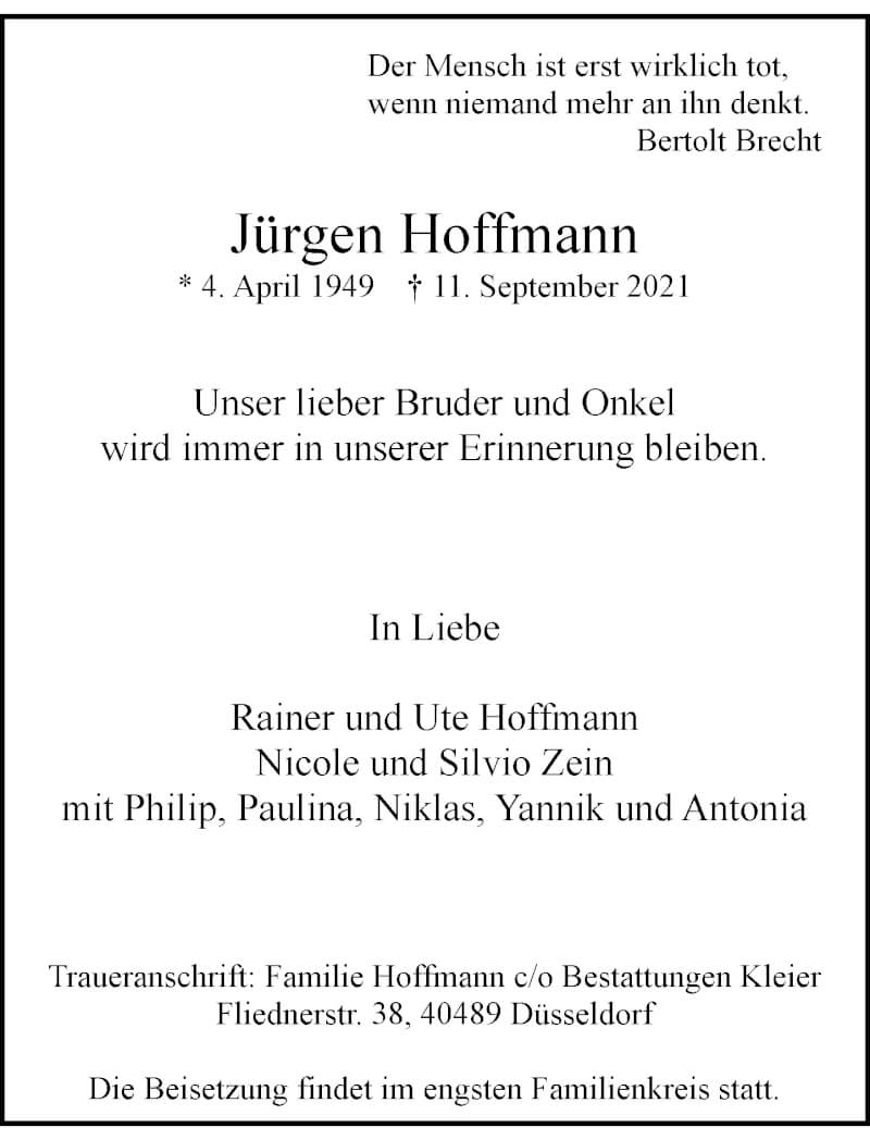 Traueranzeige für Jürgen Hoffmann vom 18.09.2021 aus Rheinische Post