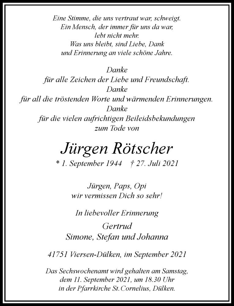 Traueranzeige für Jürgen Rötscher vom 04.09.2021 aus Rheinische Post