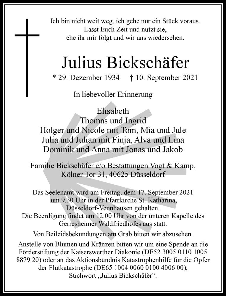 Traueranzeige für Julius Bickschäfer vom 15.09.2021 aus Rheinische Post