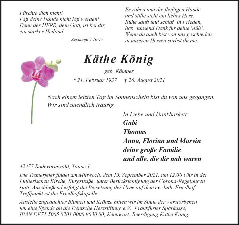 Traueranzeige für Käthe König vom 04.09.2021 aus Rheinische Post