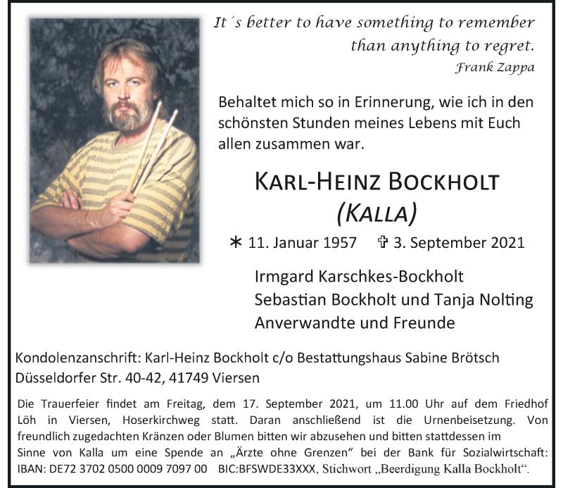 Traueranzeige für Karl-Heinz Bockholt vom 11.09.2021 aus Rheinische Post