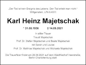 Traueranzeige von Karl Heinz Majetschak von Rheinische Post