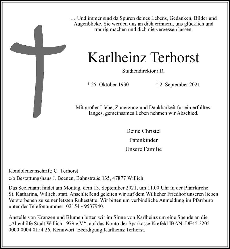 Traueranzeige für Karlheinz Terhorst vom 11.09.2021 aus Rheinische Post