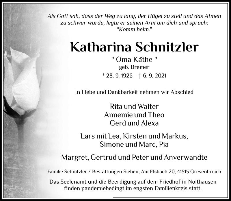 Traueranzeige für Katharina Schnitzler vom 11.09.2021 aus Rheinische Post