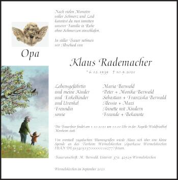 Traueranzeige von Klaus Rademacher von Rheinische Post