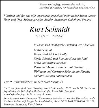 Traueranzeige von Kurt Schmidt von Rheinische Post