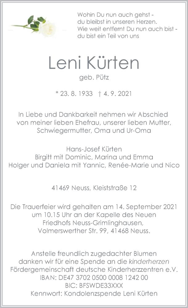 Traueranzeige für Leni Kürten vom 08.09.2021 aus Rheinische Post