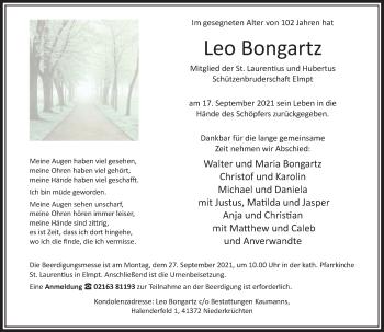Traueranzeige von Leo Bongartz von Rheinische Post