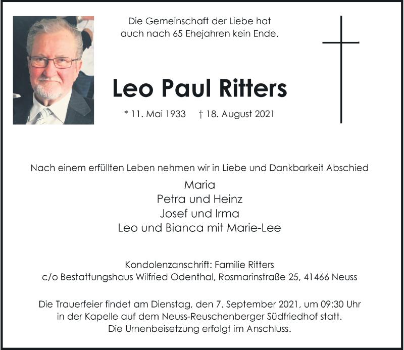 Traueranzeige für Leo Paul Ritters vom 04.09.2021 aus Rheinische Post