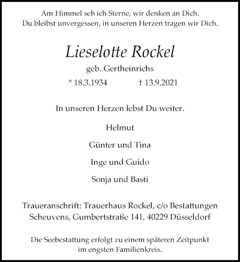 Traueranzeige für Lieselotte Rockel vom 18.09.2021 aus Rheinische Post