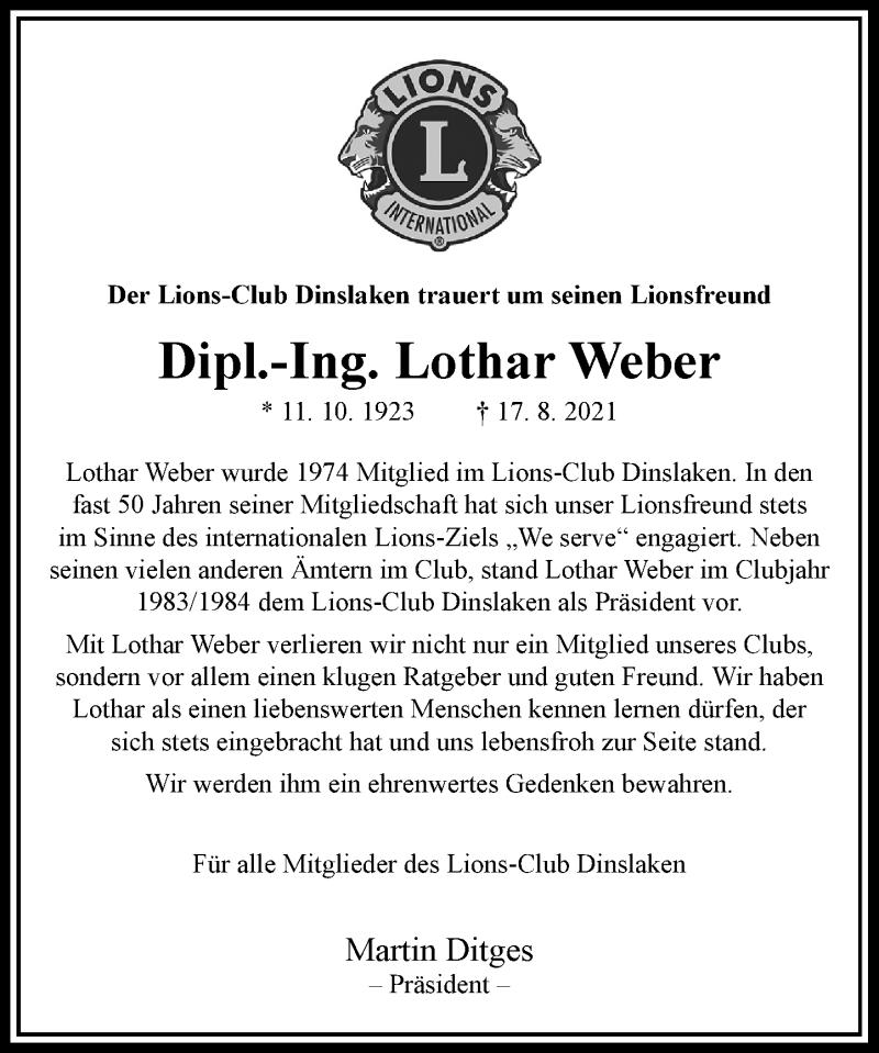 Traueranzeige für Lothar Weber vom 11.09.2021 aus Rheinische Post