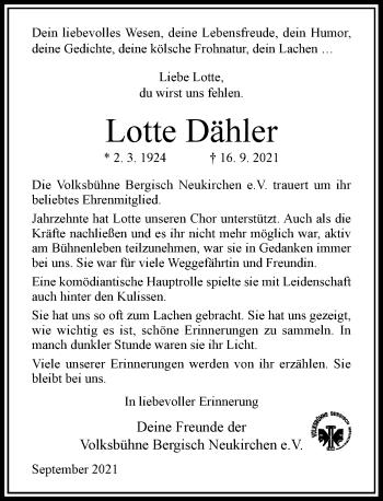 Traueranzeige von Lotte Dähler von Rheinische Post