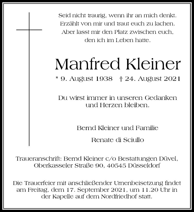 Traueranzeige für Manfred Kleiner vom 11.09.2021 aus Rheinische Post