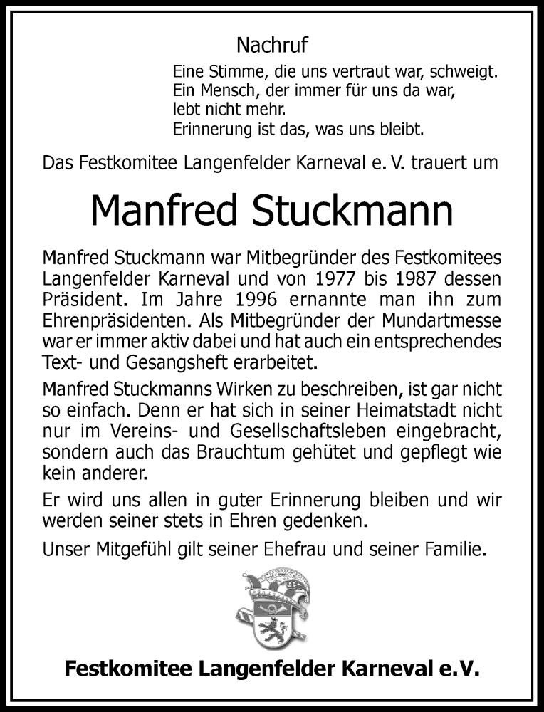 Traueranzeige für Manfred Stuckmann vom 04.09.2021 aus Rheinische Post