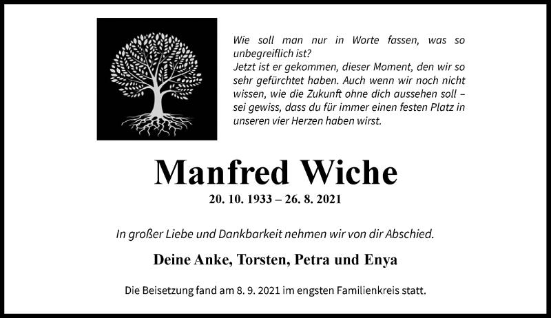 Traueranzeige für Manfred Wiche vom 11.09.2021 aus Rheinische Post