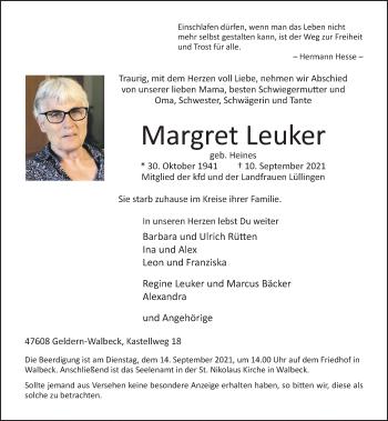 Traueranzeige von Margret Leuker von Rheinische Post