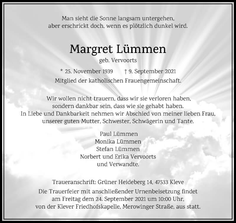 Traueranzeige für Margret Lümmen vom 21.09.2021 aus Rheinische Post