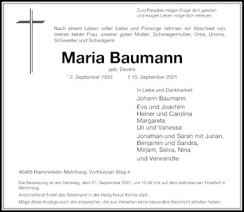 Traueranzeige von Maria Baumann von Rheinische Post