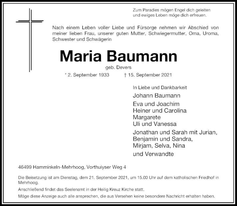 Traueranzeige für Maria Baumann vom 18.09.2021 aus Rheinische Post