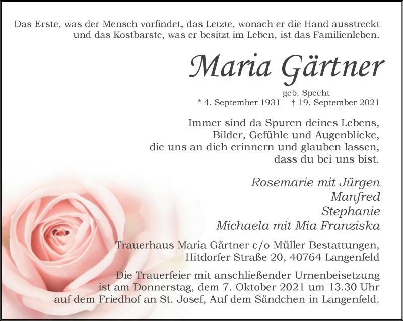 Traueranzeige für Maria Gärtner vom 02.10.2021 aus Rheinische Post